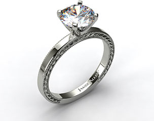 14K White Gold Etched Profile Solitaire
